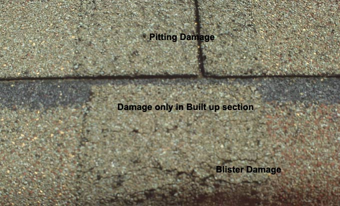 Atlas Chalet Shingles showing pitting and blister damage