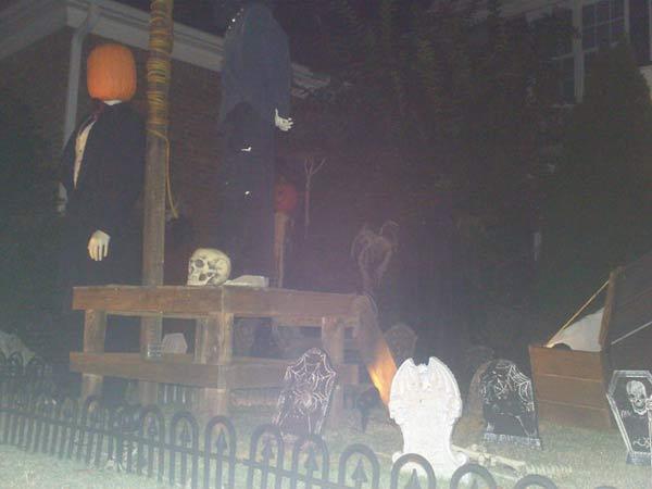 Halloween Scene At Night Executioner Gallows Graveyard
