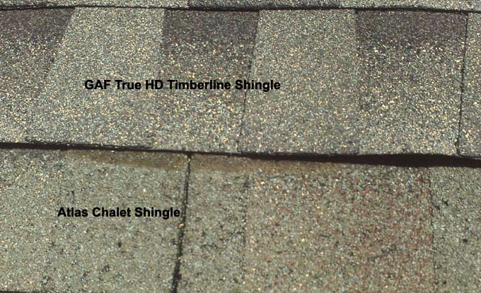 Comparison of GAF True HD Architectual Timberline Shingle to Atlas Chalet Shingle