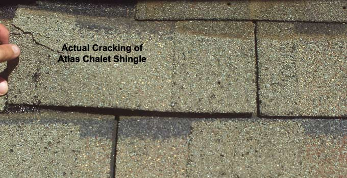 Atlas Chalet Shingles showing showing cracking