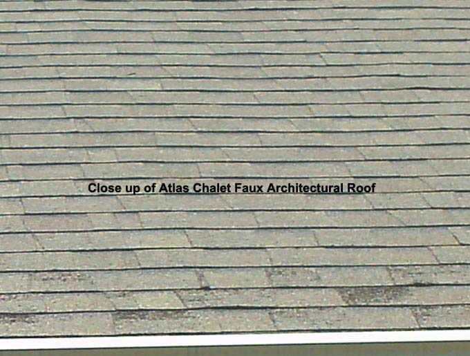 Close up of Atlas Chalet Faux Architectural Roof